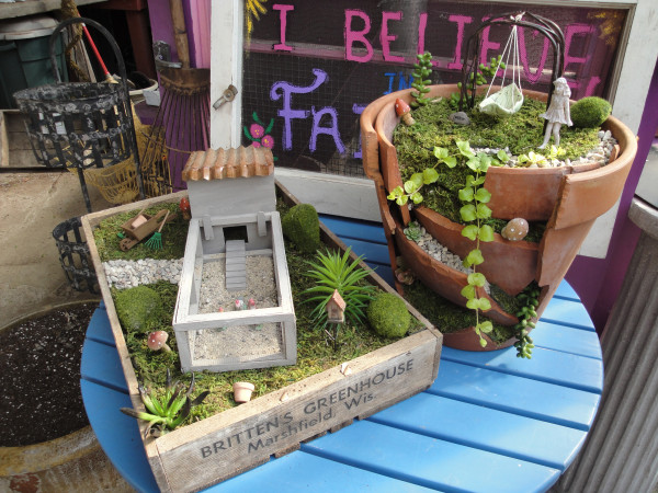 Handmade fairy gardens are now available at Britten's Greenhouse for the first time. Figurines and kits are also available to build your own.