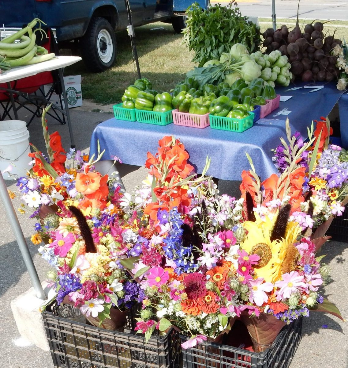 Flowers and vegetables for sale at the Festival Foods Marshfield Farmers' Market (Hub City Times Photo/Adam Hocking).