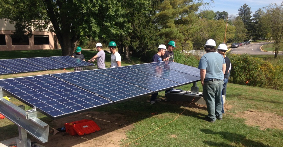 Mid-State Technical College and Pittsville students install a photovoltaic system at Pittsville High School.