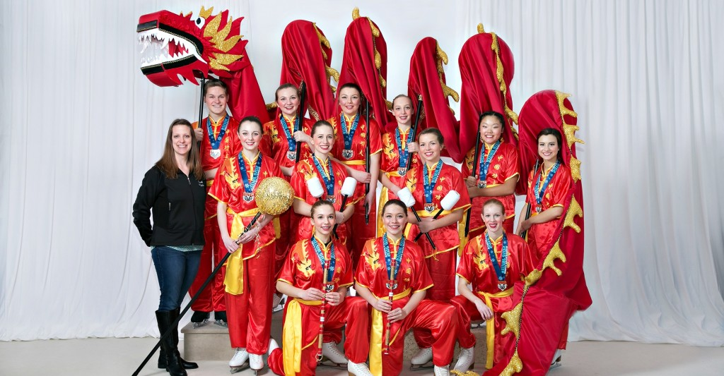 "Gold Entertainment Team — ""Chinese Dragon Dance"" — Coached by Alysia Seliger, placed first out of four teams — Back row, left to right: Timothy Zupanc, Cassandra Kopf, Maddy Rogers, Jenna Schneider — Middle row: Coach Alysia Seliger, Katie Leick, Ashley Cherney, Claire Schecklman, Caitlyn Christensen, Mariah Nelles — Kneeling: Laurel Siegel, Jenna Asplin, Hanah Gadke. (Paul Tishim photo)"