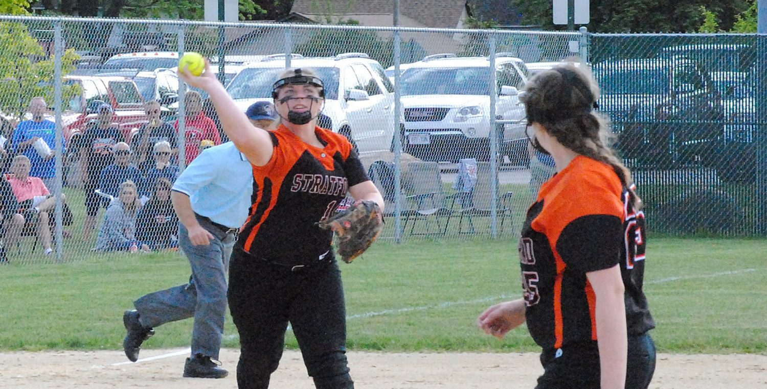 Stratford Tigers third baseman Kaylee Geiger, left, was one of three Tigers to earn first-team All-Marawood Conference South Division softball honors.