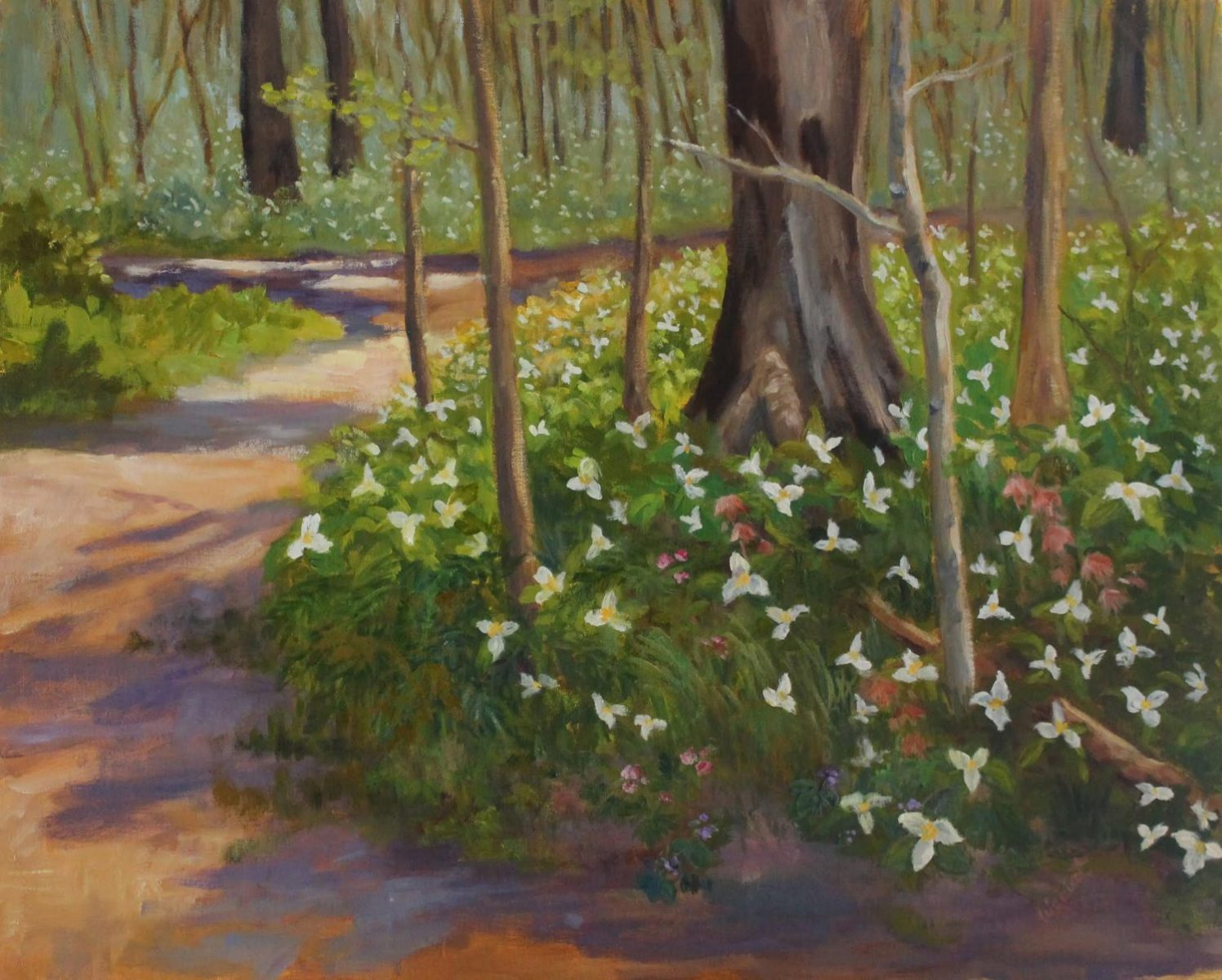 "A painting titled """"Trilliums at Wildwood"""" by Ann Waisbrot, whose work and studio will be featured in the 2016 Northwoods Art Tour."