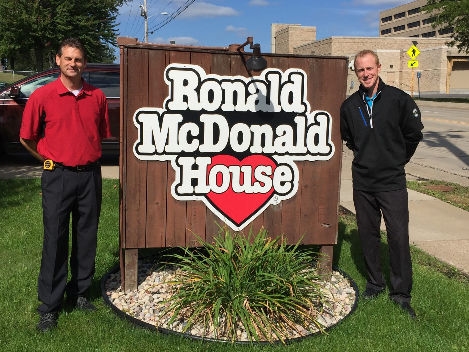 John Sikora (left) and C.W. Mitten IV (right) of Mittens Home Appliance made a special delivery to the Ronald McDonald House.