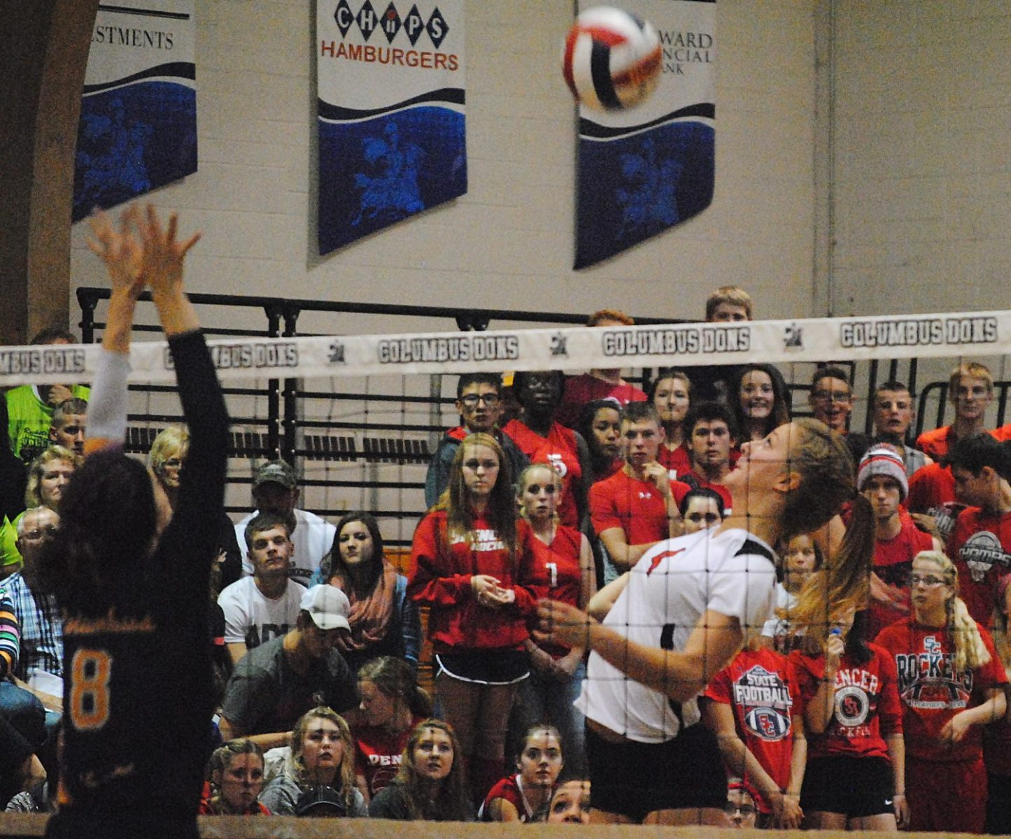 Spencer''s Johanna Ellefson eyes up a spike during the Rockets' win over Marshfield Columbus Catholic on Sept. 29. The Rockets are on the verge of clinching their fifth-straight Cloverbelt Conference East Division championship.