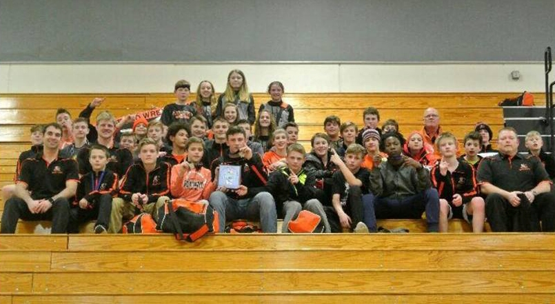 The Marshfield Middle School wrestling team won its third-straight Central Wisconsin Conference tournament title on Friday at Merrill High School.