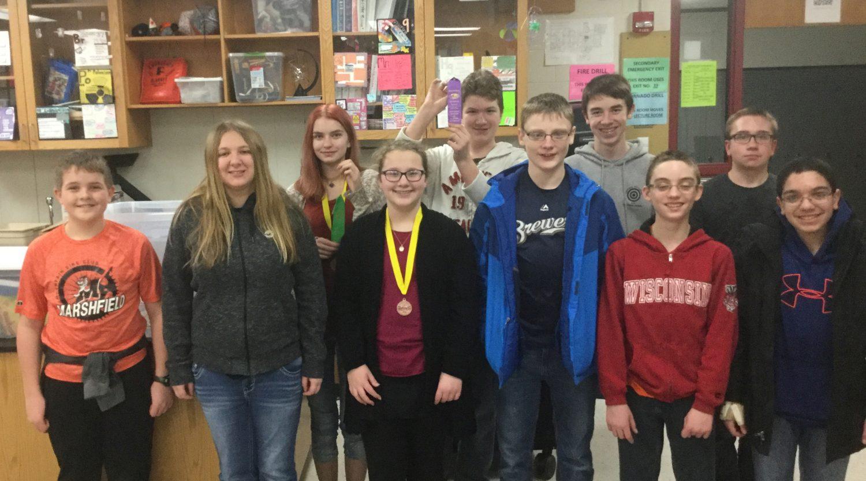 Marshfield Middle School's Science Olympiad Team, from left: Matt Begotka, Allie Bacholl, Zoey Rice, Brynn Harrington, Josh Gibson, Daniel Gauerke, Ben Huber, Eli Junco, Jacob Justice, and Sary Bsesio.