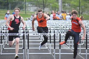 Marshfield's Skyler Theisen, middle, leaps over the final hurdle during the 100-meter boys hurdles on May 25 at the WIAA Division 1 Track & Field Sectionals at Stiehm Stadium at D.C. Everest Junior High. Theisen advanced to state competition in the 300-meter hurdles.
