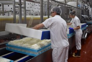 Nasonville Dairy workers pack cheese on June 22. Nasonville Dairy's history reaches back to the days of the Nasonville community pioneers and consists of more than 130 years of development and growth.
