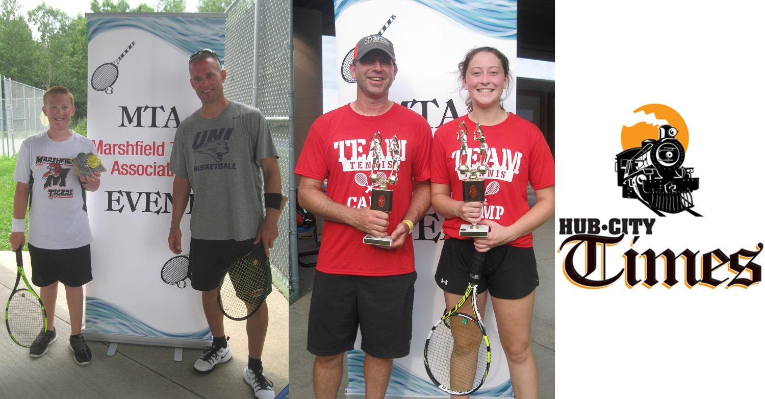 Left photo: Dillon Scheuer, left, and his father, Scott Scheuer, won the adult-child U14 round robin division title at the Marshfield Tennis Association Doubles Tournament on Aug. 4-5 at Boson Courts. Right photo: Greg Emerson of Altoona and Emily Shipman on Medford took first place in the mixed doubles round robin division at the Marshfield Tennis Association Doubles Tournament on Aug. 4-5 at Boson Courts.