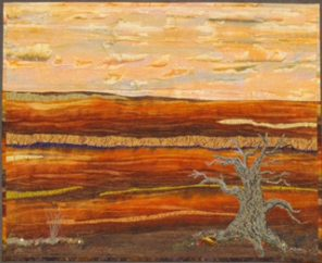 """""""Sunset Canyon"""" by artist Kathleen Irons Sweeney is one of the pieces on display during the Stitched Together fiber arts exhibit at New Visions Gallery."""