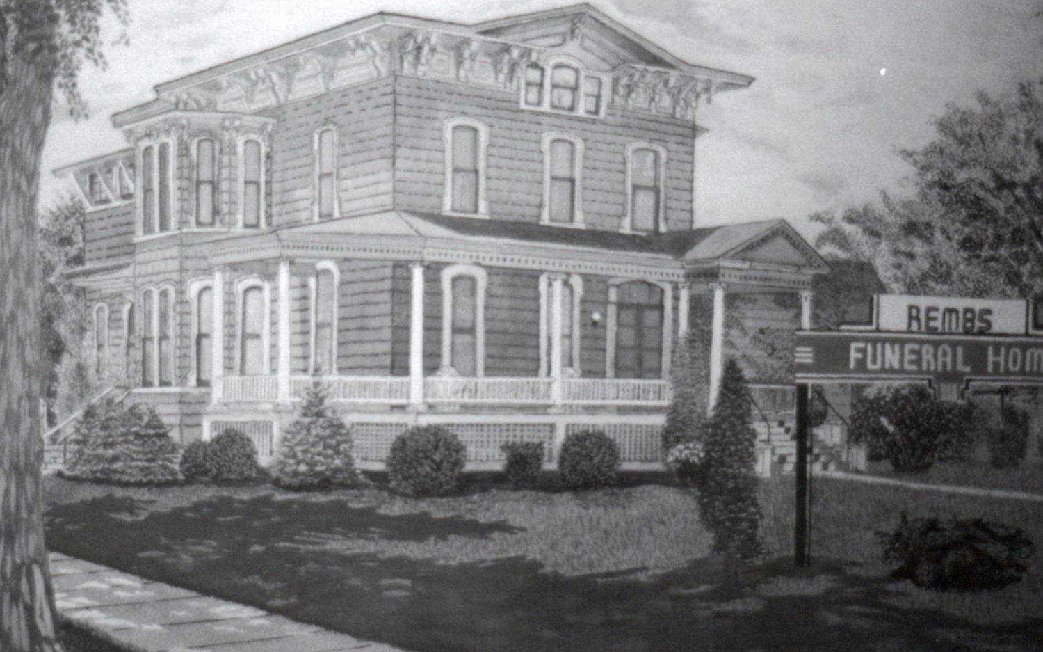 The company of Rembs, Baer, and Lange opened a state-of-the-art funeral home on the corner of Fourth Street and Chestnut Avenue following a complete remodeling of what was once the residence of Frank Upham in 1937.