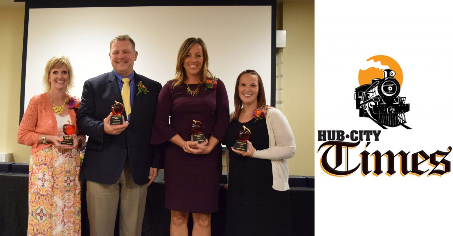 From left: The 2017 Crystal Apple recipients are Debbie Heidmann, Auburndale Elementary; Scott Moseley, Greenwood Elementary; Jessica LeMoine, Marshfield High School; and Amber Schultz, Grant Elementary.