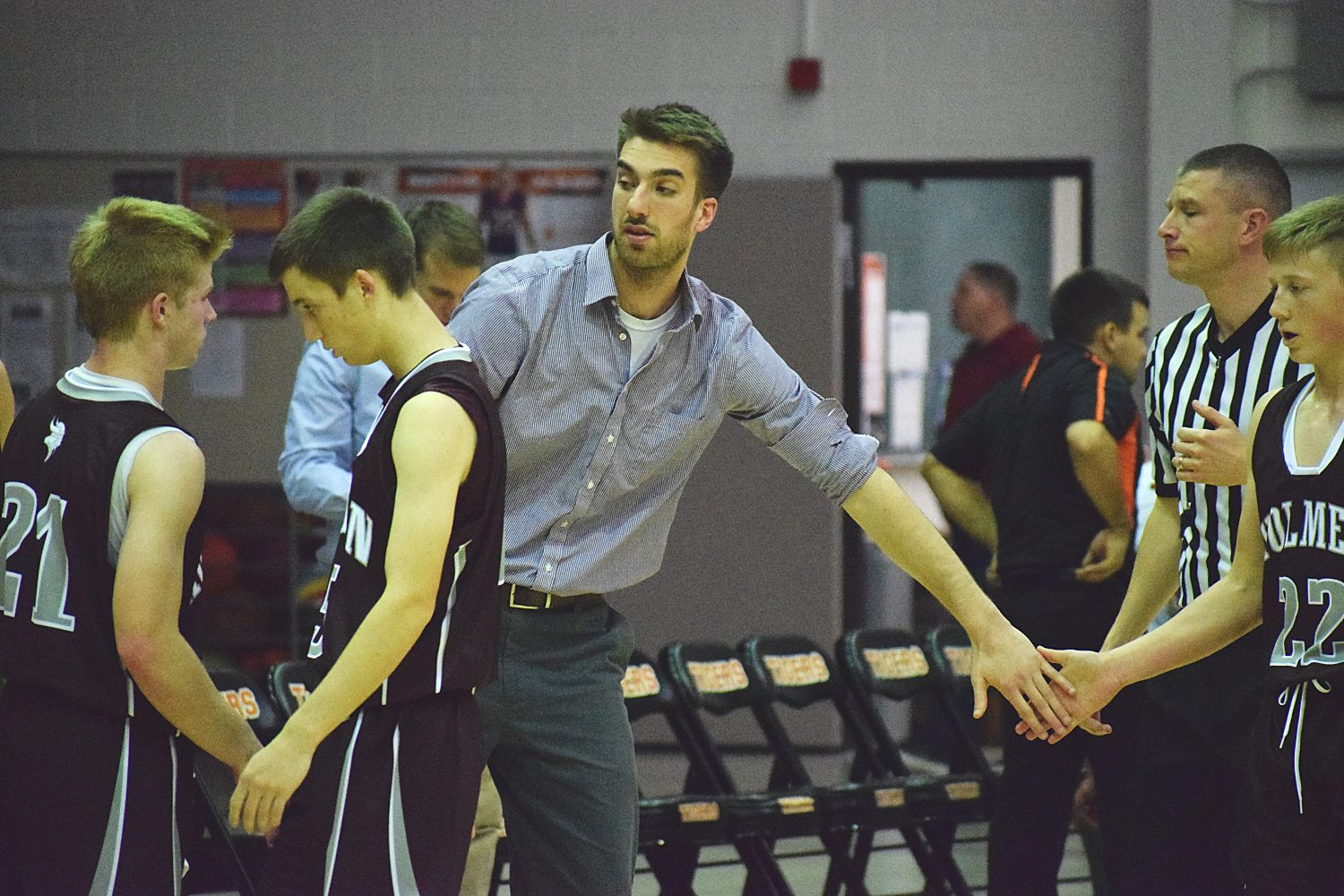 Cale Zuiker, a 2011 Marshfield High School graduate and the seventh all-time leading scorer in program history, is now an assistant coach for Holmen. Marshfield played Holmen on Nov. 28. Paul Lecker photo